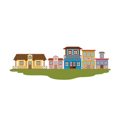 Colorful silhouette of country houses in grass vector