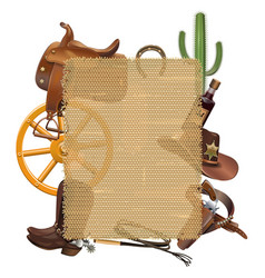 Cowboy sackcloth frame vector