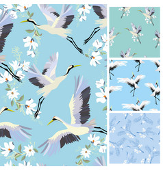 crane pattern set vector image