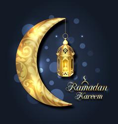 Crescent islamic with lantern for ramadan kareem vector