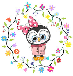 Cute penguin girl in a flowers frame vector