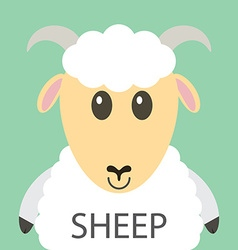 Cute white sheep cartoon flat icon avatar vector image