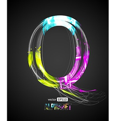 Design Light Effect Alphabet Letter Q vector