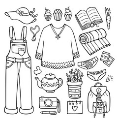 Doodle set of female clothes and other objects vector