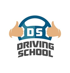 driving school logo template steering whell vector image