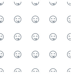 Emot showing tongue icon pattern seamless white vector
