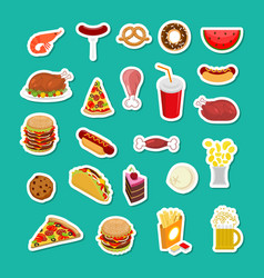 Fast food sticker set signs of feed icon vector