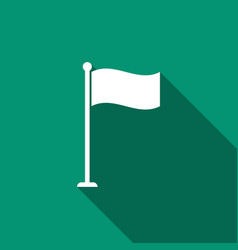 Flag icon with long shadow location marker symbol vector