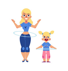 Flat girl kid and woman hula hoop exercise vector