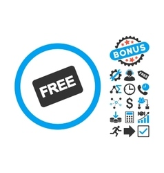 Free Card Flat Icon with Bonus vector image