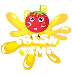 Fresh tomato on yellow splash vector
