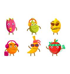 funny exotic fruit characters set pitahaya pear vector image