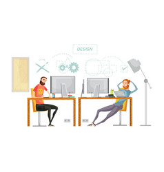 Game design office composition vector