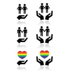 Gay and lesbian couples rainbow flag with hands vector