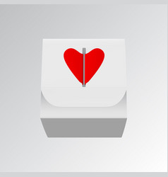 gift box with red hearts isolated on white vector image