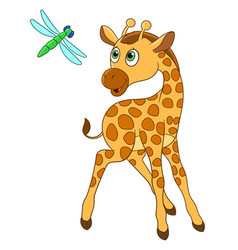 Giraffe and dragonfly vector