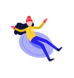 girl in hat snowtubing outdoors in winter vector image