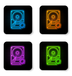 glowing neon hard disk drive hdd sync refresh vector image