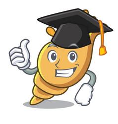 Graduation exotic shell character cartoon vector