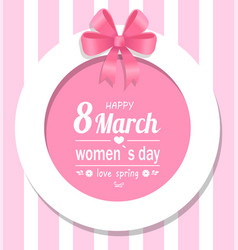 greeting card happy womens day eight march spring vector image