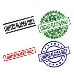 Grunge textured limited places only stamp seals vector
