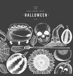 halloween banner template hand drawn on chalk vector image