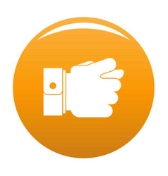 Hand greed icon orange vector