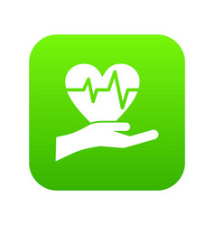 hand holding heart with ecg line icon digital vector image