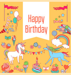 Happy birthday card with unicorn strawberry cake vector
