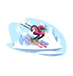 happy man skiing in the mountains against blue sky vector image
