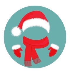 Hat Santa Claus scarf and mittens vector image