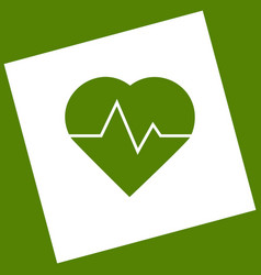 heartbeat sign white icon vector image
