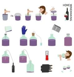 Home winemaking Set of elements vector