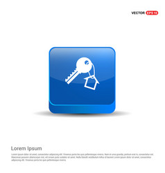 house key icon - 3d blue button vector image