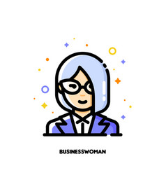 icon of cute female user avatar of businesswoman vector image