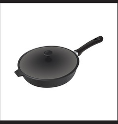 Iron pan with cover and black handle vector