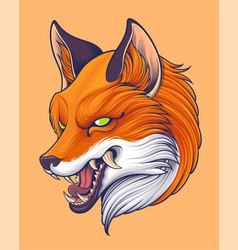 japanese style red fox head vector image