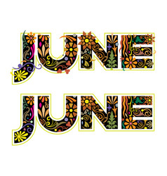 june word decorated with flowers and leaves vector image