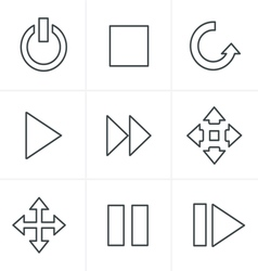 Line Icons Style media Icons Set Design vector image