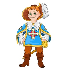 Little boy in the costume of Musketeer vector
