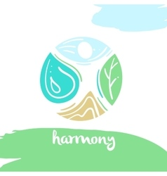 Logo harmony four nature element high mountain vector image vector image