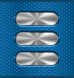 metal oval brushed plates on blue perforated vector image
