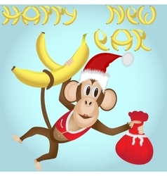 Monkey in a New Year clothes with a bag of gifts vector