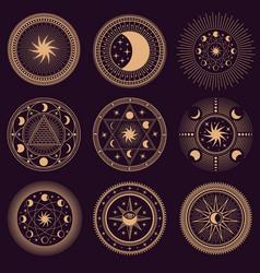 mystic circle symbols set vector image