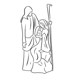 Nativity scene of baby jesus in arm of mary with vector