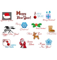 New Year and Christmas symbols vector image