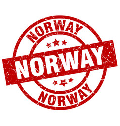 Norway red round grunge stamp vector
