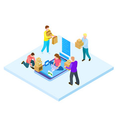 online shopping and home delivery isometric vector image