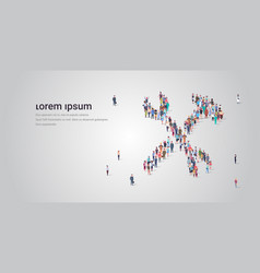 people crowd gathering in wrench and hammer shape vector image
