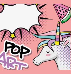 Pop art unicorn vector